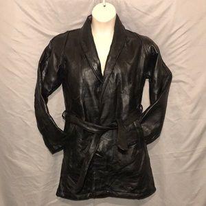 Jackets & Coats - Italian mosiac lambskin leather jacket tie waist